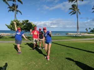 Pre-walk pose with a few of the Kapolei Rotary and End Polio Now members at Ko Olina Lagoon 4.