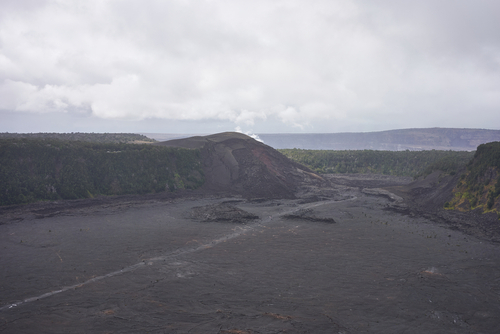 Aerial view of the solidified Kīlauea Iki Crater lava lake in Hawaii Volcanoes National Park on the Big Island.