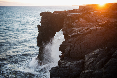 The Holei Sea Arch is the last stop at the of Chain of Craters road.