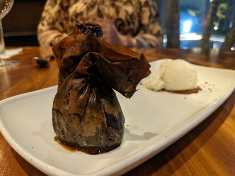 The chocolate purse and vanilla bean ice cream at Merriman's Honolulu.