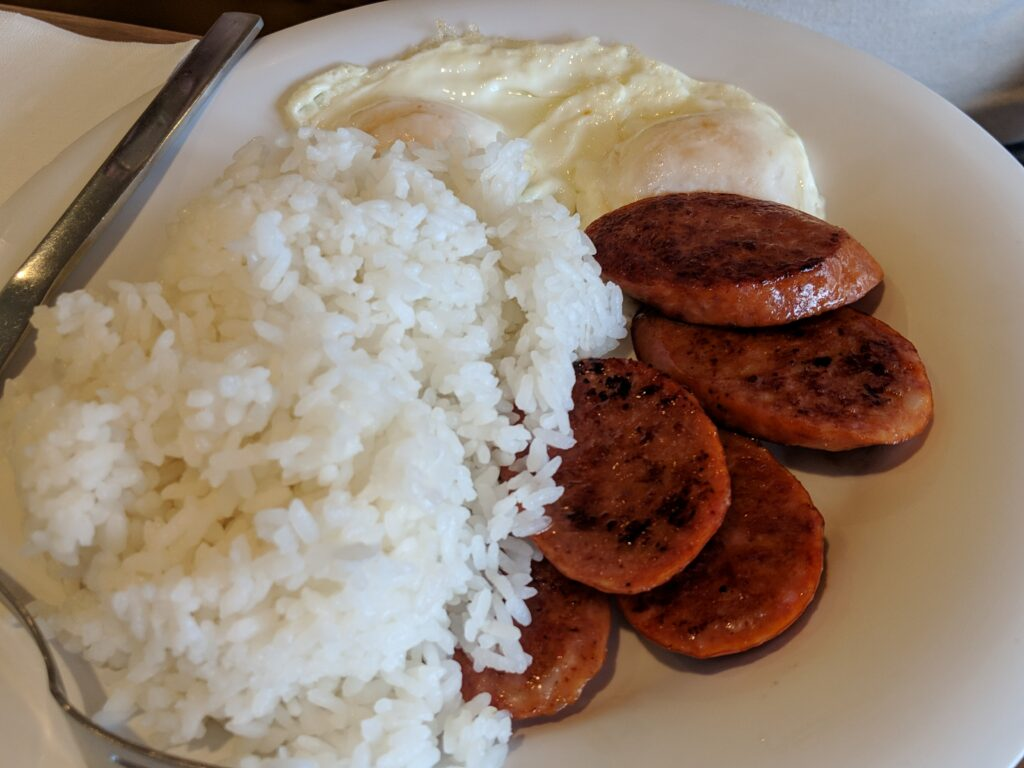 The local favorite of Portugese sausage, rice, and eggs are always a favorite.
