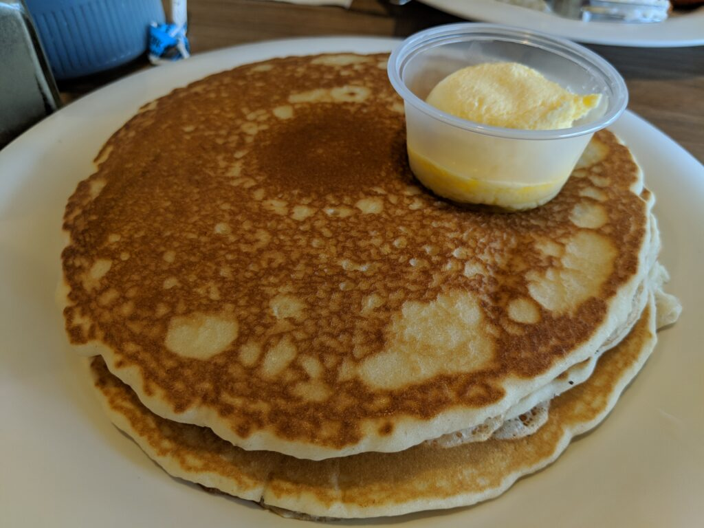 A stack of pancakes from Pancakes and Waffles BLD.