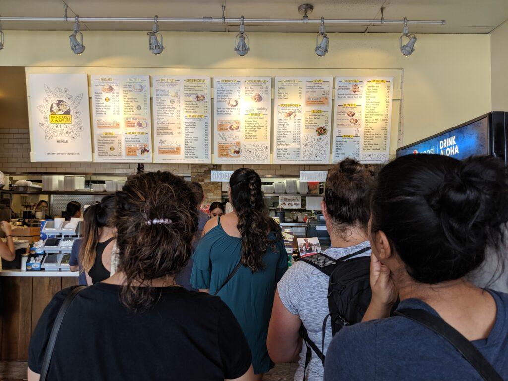 People waiting to order at Pancakes and Waffles BLD.