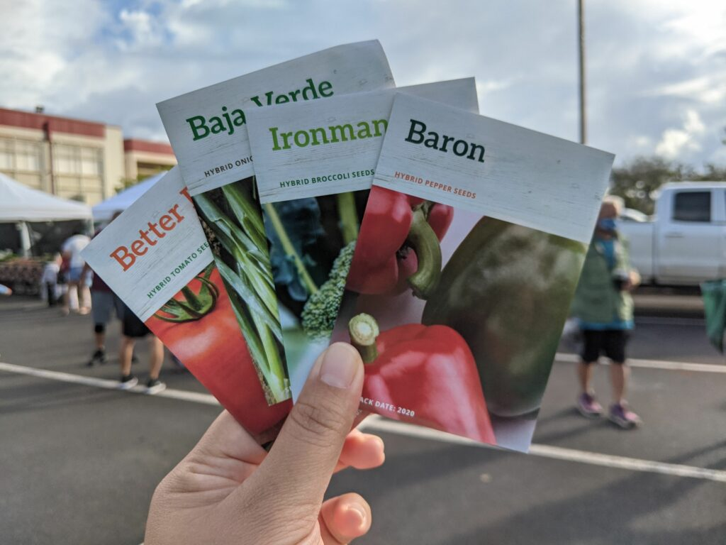 Some free seeds I got at an event at Mililani Farmers' Market at Mililani High School.