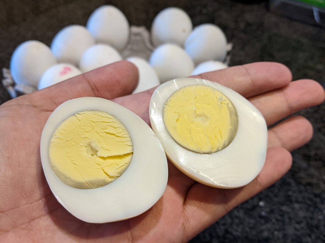 Hard-boiled eggs without water.