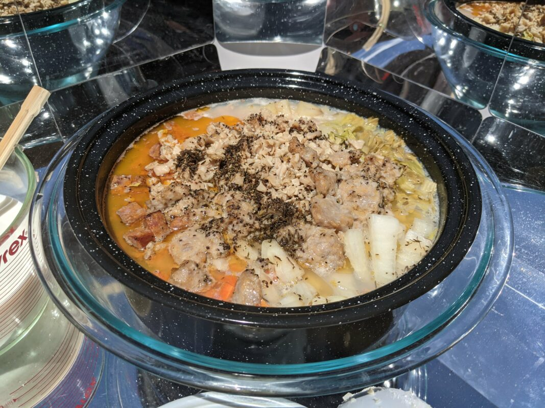Solar Cooking Clam Chowder With Portugese Sausage