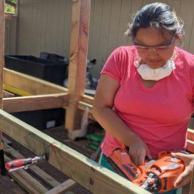 Building the aquaponics base.