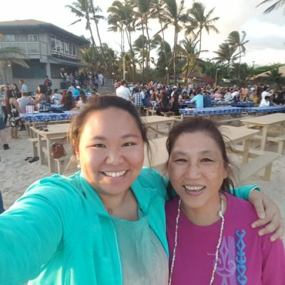 Me and Mom at Germaine's luau on the sandy beach!