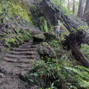 Amy on the Aiea Loop Trail stairs.